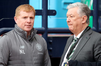 Celtic manager Neil Lennon and Chief Exec Peter Lawwell
