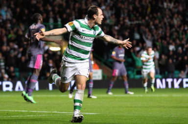 Anthony Stokes celebrating goal against Rennes for Celtic in 2011.
