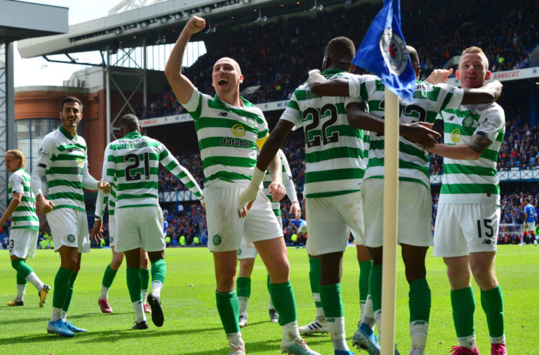 Celtic celebrate v Rangers