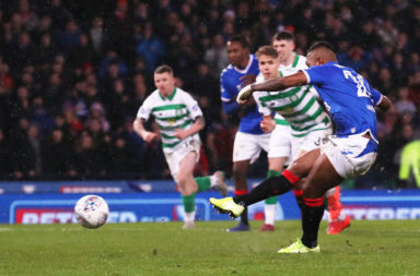 Celtic fans react to Rangers striker Alfredo Morelos missing his cup final penalty.