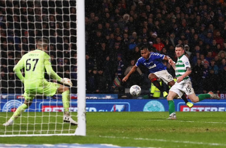 Rangers striker Alfredo Morelos misses a chance v Celtic