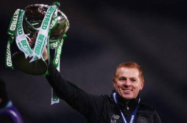 Celtic manager Neil Lennon celebrates League Cup win