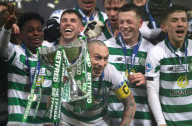 Celtic celebrate League Cup win over Rangers