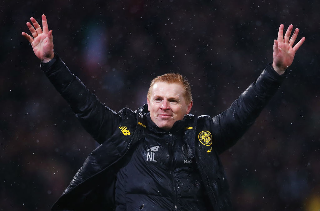 Celtic manager Neil Lennon celebrates League Cup win v Rangers