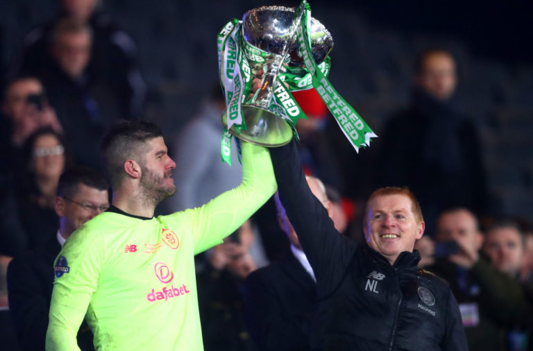 Celtic goalkeeper Fraser Forster celebrates League Cup win