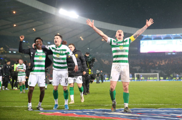Celtic stars Jeremie Frimpong, Mikey Johnston and Scott Brown celebrate Celtic League Cup win v Rangers