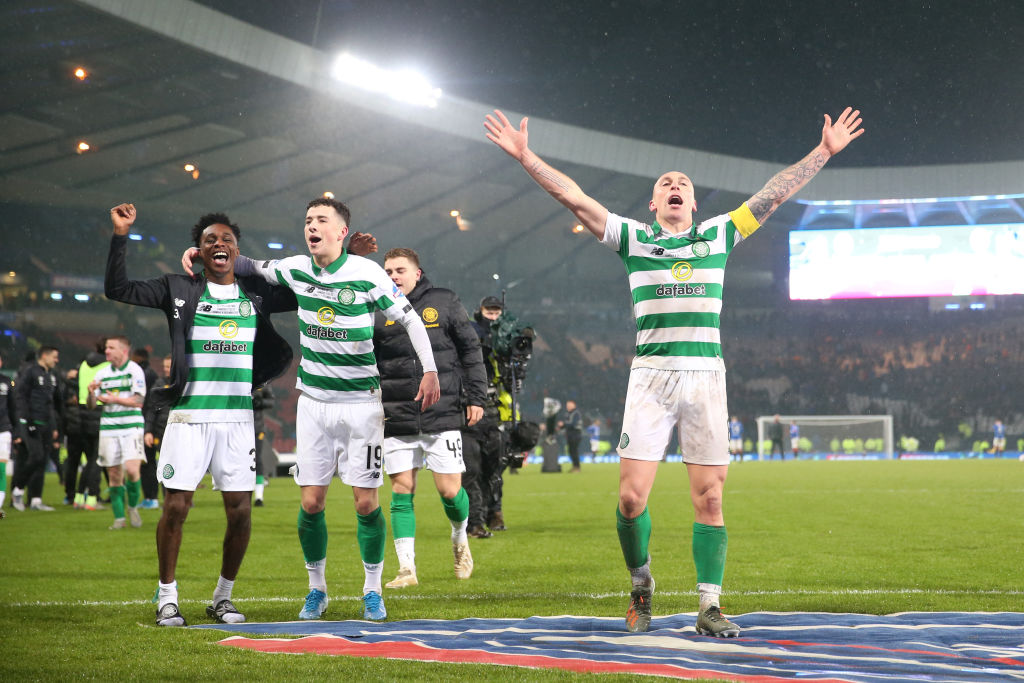 Jeremie Frimpong, Scott Brown and Mikey Johnston celebrate Celtic win over Rangers