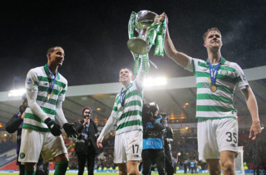 Celtic stars Christopher Jullien, Ryan Christie and Kristoffer Ajer celebrate Celtic cup win v Rangers