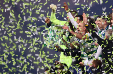 Celtic celebrate League Cup win v Rangers