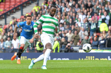 Moussa Dembele scores a penalty for Celtic against Rangers