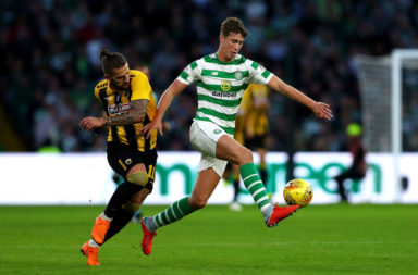 Jack Hendry playing against AEK Athens