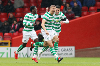 Jozo Simunovic celebrates a Celtic goal