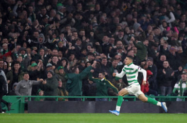 Mohamed Elyounoussi celebrates scoring for Celtic