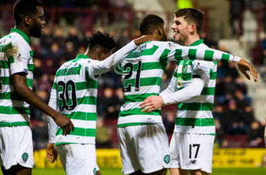 Celtic players at Tynecastle
