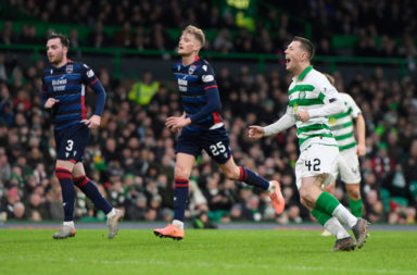 Callum McGregor celebrates scoring against Ross County
