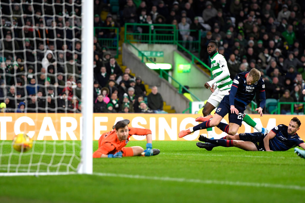 Celtic striker Odsonne Edouard scores against Ross County