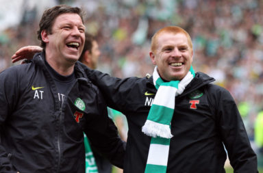 Neil Lennon and Alan Thompson celebrate winning the league at Rugby Park in 2012