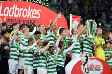 Celtic celebrate winning a league title