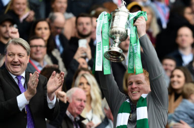 Celtic manager Neil Lennon celebrates a Scottish Cup win