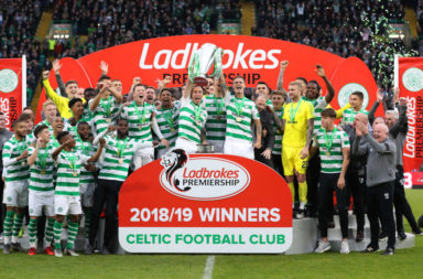 Celtic lift the Premiership trophy
