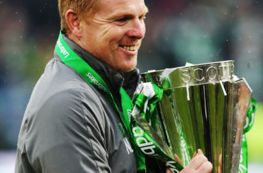Neil Lennon with the Premiership trophy