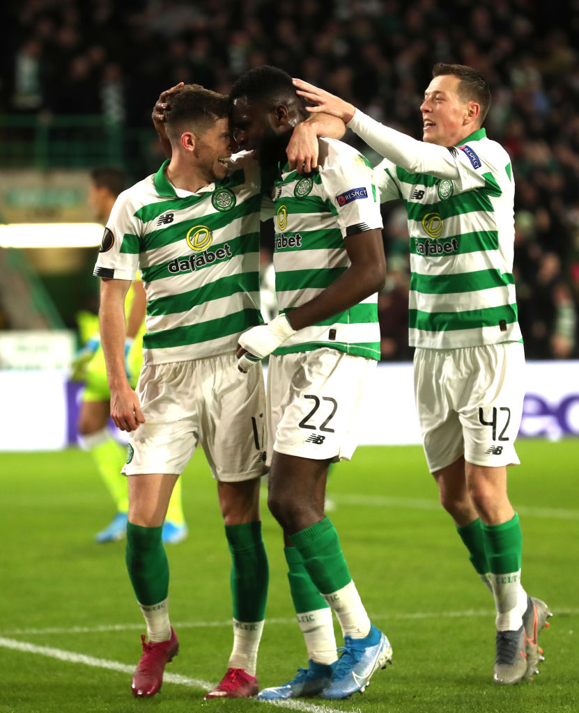 Ryan Christie and Odsonne Edouard celebrate a Celtic goal