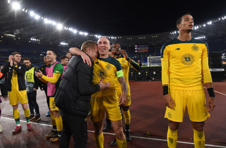 Celtic manager Neil Lennon hugs Scott Brown in Rome