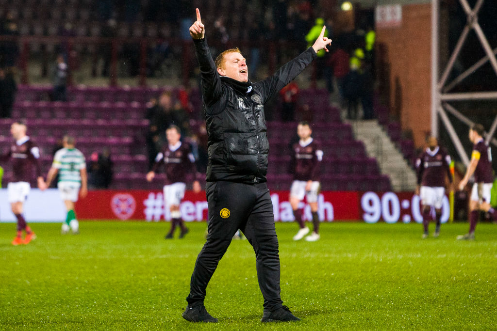 Lennon celebrates at Tynecastle