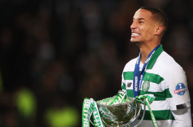 Celtic defender Christopher Jullien celebrates a trophy win