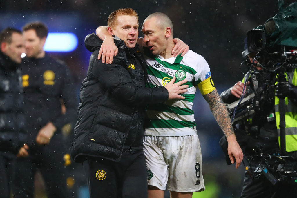 Celtic manager Neil Lennon and captain and Scott Brown