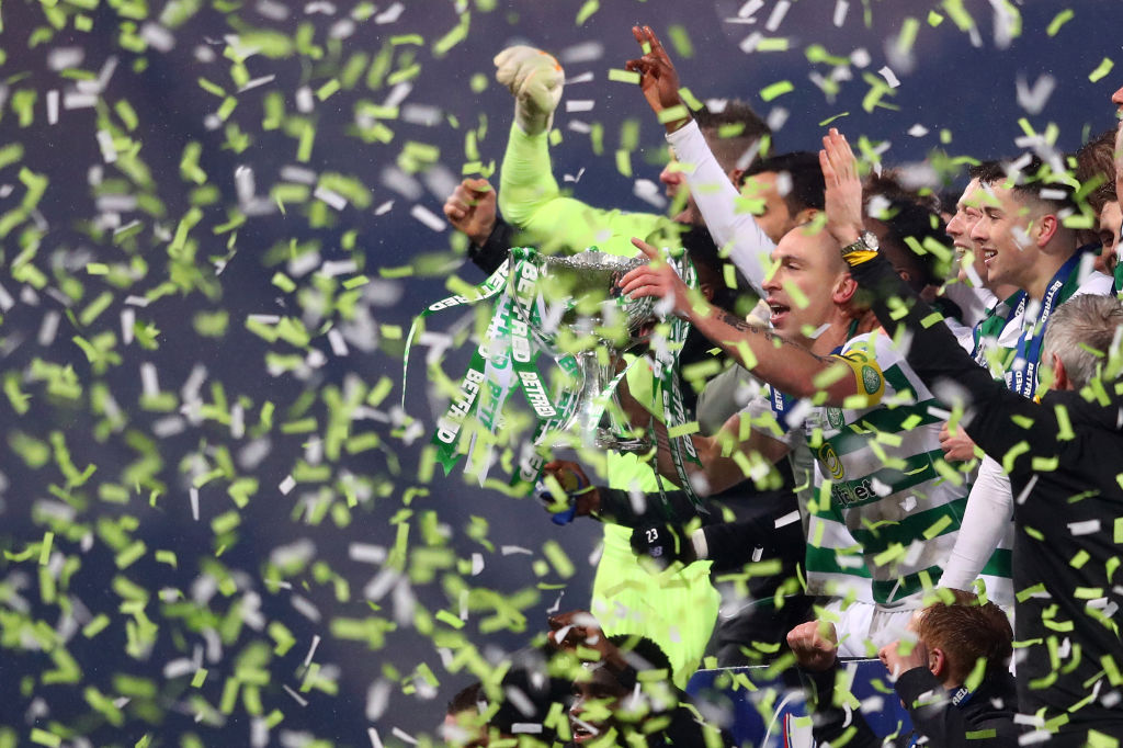 Celtic players celebrate at Hampden