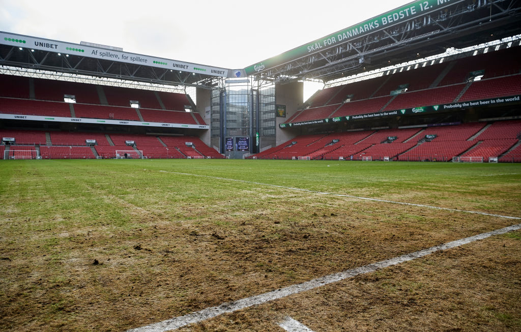 The Parken Stadium surface in late January