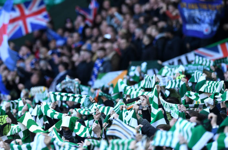 Celtic fans before a Rangers match
