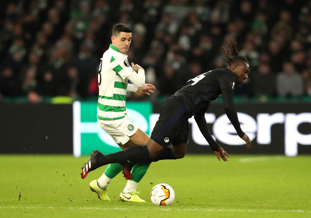 Tom Rogic in action for Celtic against Copenhagen