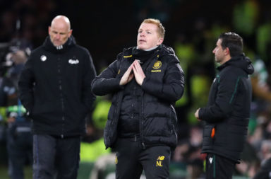Celtic manager Neil Lennon on the touchline