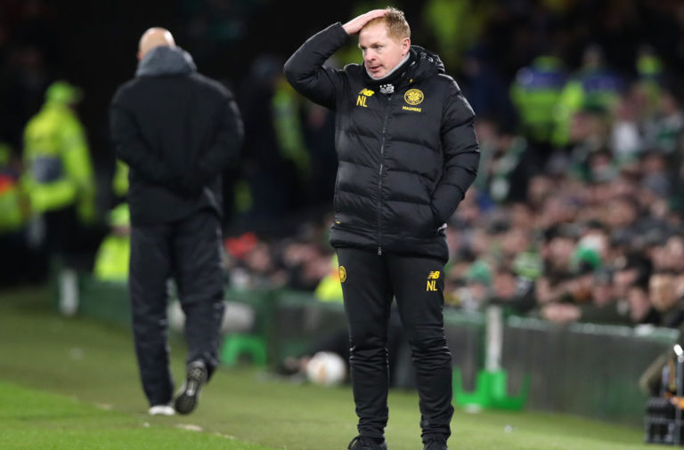 Neil Lennon on the Celtic touchline vs Copenhagen