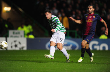 Tony Watt scoring against Barcelona for Celtic