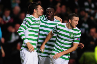 Tony Watt after scoring against Barcelona