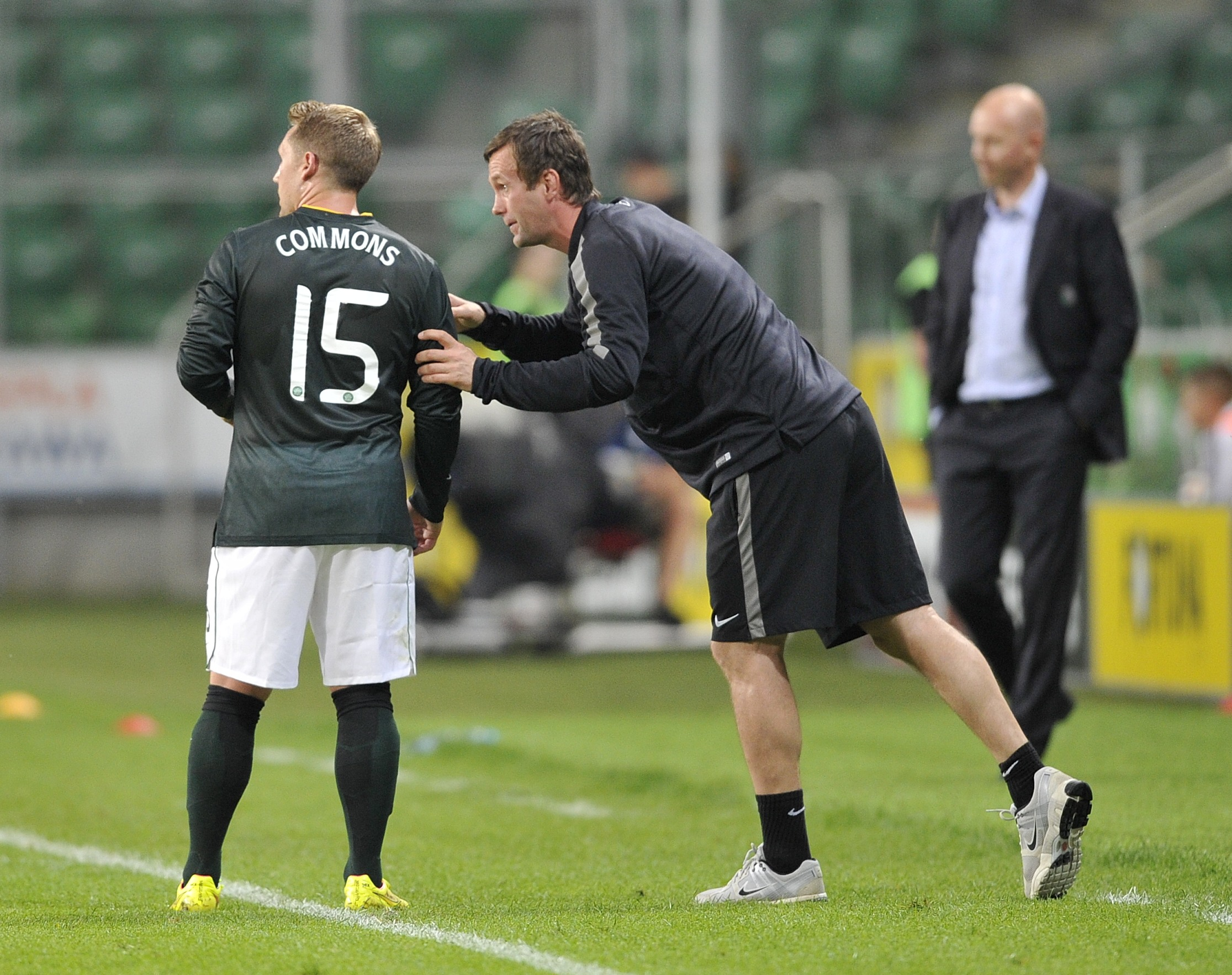 Kris Commons and Ronny Deila at Celtic