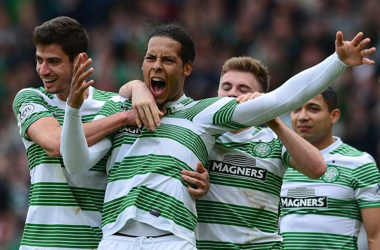 Van Dijk celebrates for Celtic