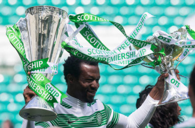 Efe Ambrose celebrates a Celtic title win