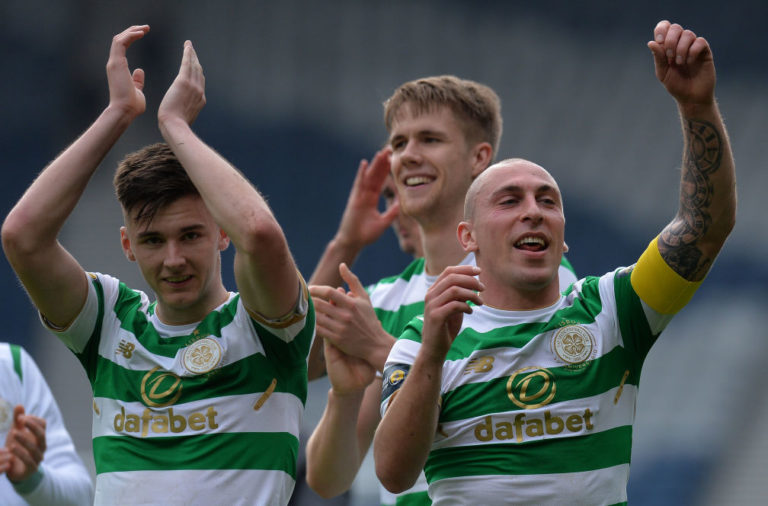 Scott Brown and Kieran Tierney celebrate a Celtic win