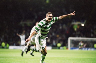 Henrik Larsson celebrates one of the Celtic iconic European goals against Valencia.
