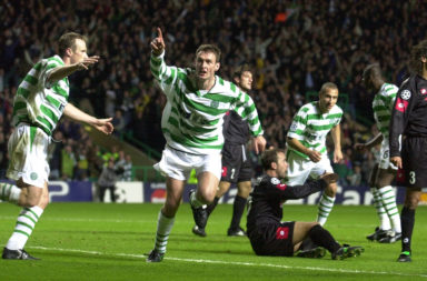 Chris Sutton celebrates scoring for Celtic against Juventus