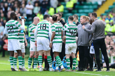 Neil Lennon speaks to his Celtic side during the 2-1 win over Rangers