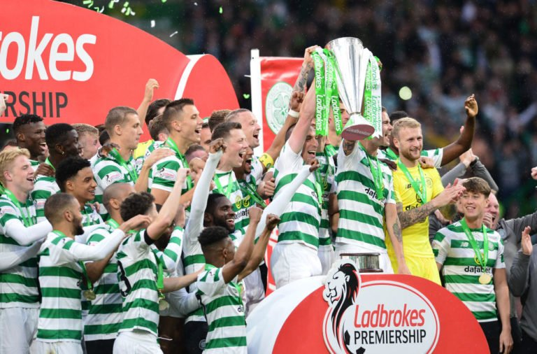 Celtic celebrate a league title win
