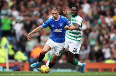 Nikola Katic in action against Celtic