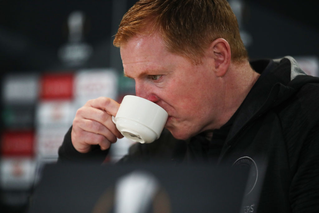 Neil Lennon at a Celtic press conference