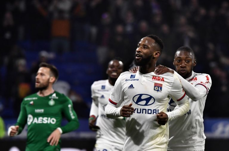 Former Celtic star Moussa Dembele celebrates a Lyon goal