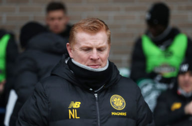 Neil Lennon gestured to his players to keep it tight